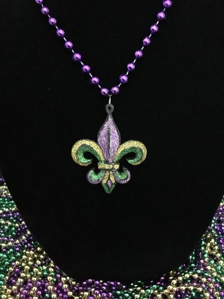 Purple,Green and Gold Glitter Fleur de lis